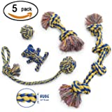 MAS - Dog Rope Toy, 5pc Set, EXTRA THICK Durable Quality, 100% NATURAL COTTON, Medium, Large, Extra Large Dogs, Mental Stimulation, Aggressive Chewers, Dental Hygiene, Puppy Behavioral Training Toy