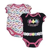Dc Comics Bat Girl LIL' Crime Fighter Baby Girls 2 Pack Bodysuit Set 0-9 Months (3/6 Months)