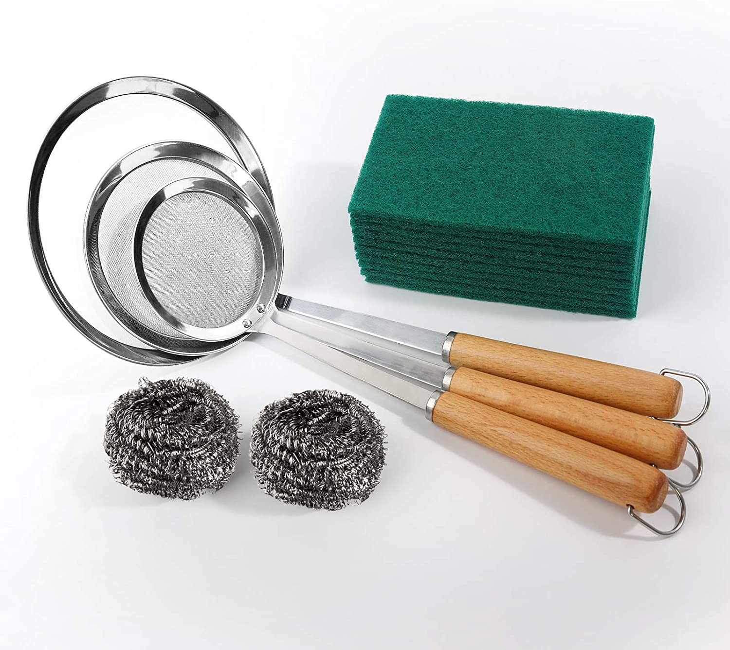 Fine Mesh Strainer Set of 3, Stainless Steel Strainers, Sieves, Sifters, Colander Kitchen Strainer Fine Mesh for Food Preparation, Plus 2 Kitchen Stainless Steel Scrubbers and 10 Heavy Duty Scour Pads