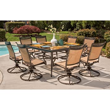 Hanover Fontana 9 Piece Dining Set With Eight Swivel Rockers And A 60 Inch  Square