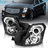 AmeriLite Projector Headlights Dual LED Halo Chrome Set for Cadillac CTS - Passenger and Driver Side