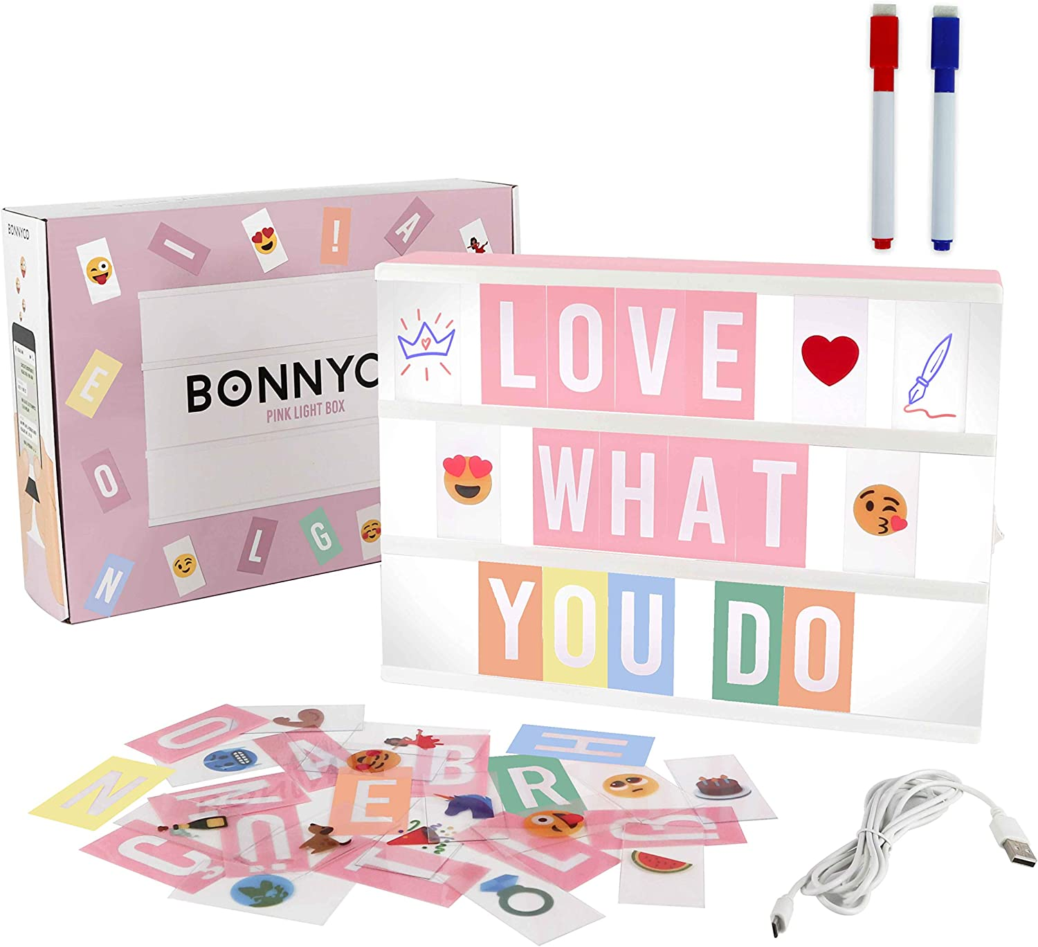 Pink Cinema Light Box with 300 Letters & Emojis & 2 Markers - BONNYCO | Led Light Box Home, Office & Room Decor | Light Up Sign Letters Board Gifts for Women & Girls Christmas & Birthdays | Pink Decor