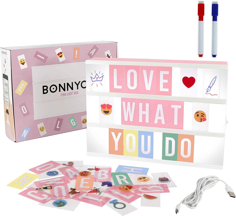 Caja de Luz A4 Rosa con 300 Letras, Divertidos Emojis y 2 Rotuladores | Ñ y Ç Incluidas| Cartel Luminoso LED Ideal para Decoración Hogar, Habitación, Oficina | Regalo Original para Niñas, Mujeres