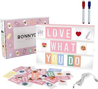 Caja de Luz A4 Rosa con 300 Letras, Divertidos Emojis y 2 Rotuladores | Ñ y