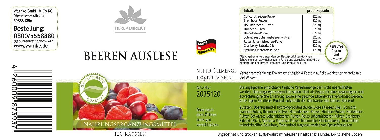 Selección de bayas de herbadirekt con espirulina - Frutas - 120 comprimidos: Amazon.es: Salud y cuidado personal