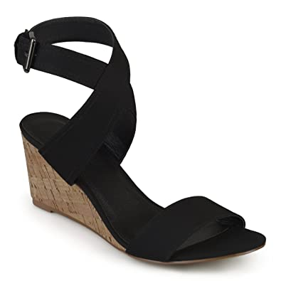 05185d96bc07 Journee Collection Womens Canvas Ankle Strap Wedges Black