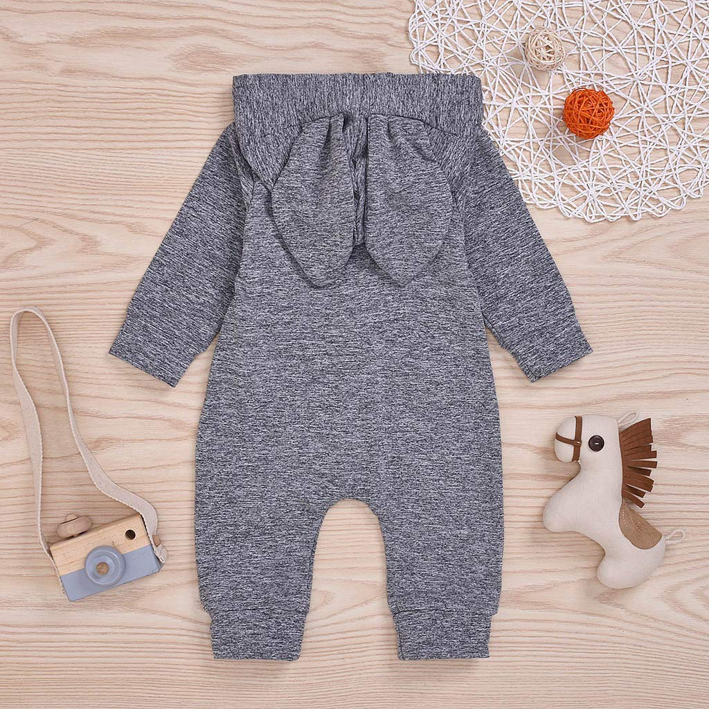 Wenini Newborn Infant Baby Girls Boys Rabbit Ear Solid Button Jumpsuit Soft Romper Clothes