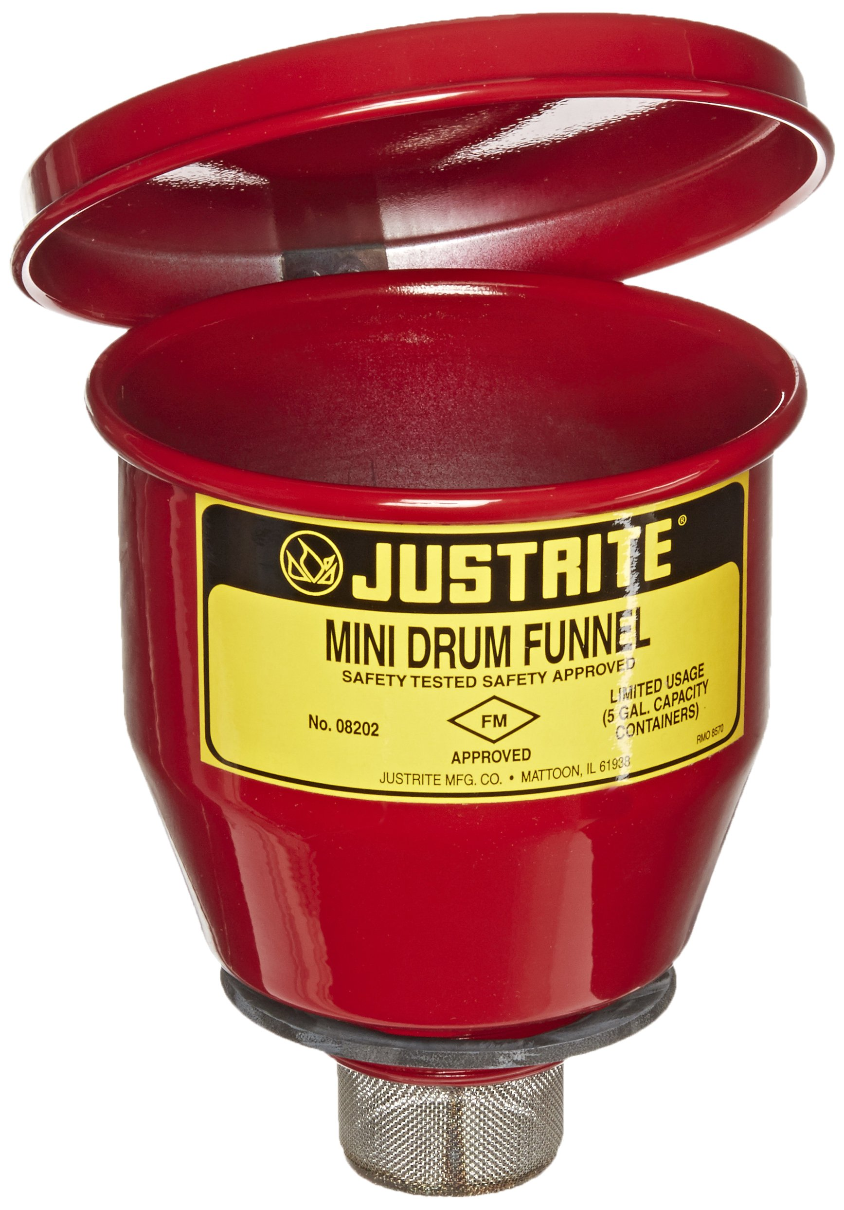 Justrite 08202 Steel Small Safety Drum Funnel with Manual Close Cover, 1 qt Capacity, 4-1/2'' Diameter x 4-1/2'' Height, for 5 Gallon Steel Pails with 2'' NPT by Justrite (Image #1)