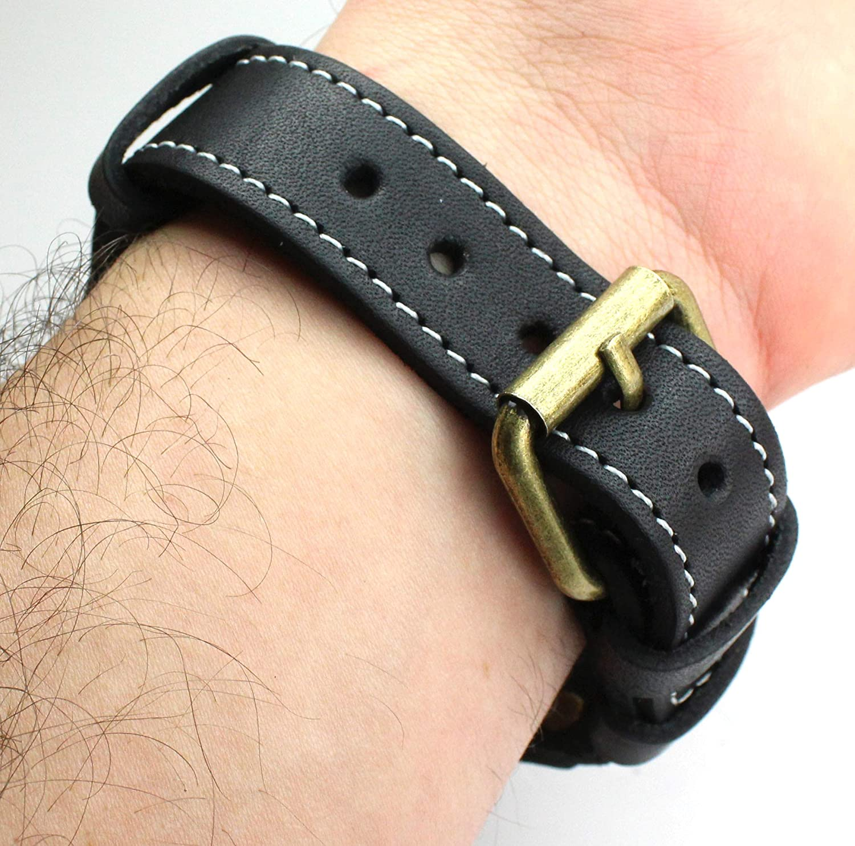 Läderband och skal kompatibel med DH GSTP Omega Doxa Jaeger Elgin of fickur brun svart Schwarz, Silber Beschläge
