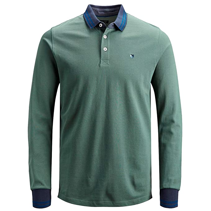 Jack & Jones - Polo Pique Manga Larga Verde Vigore S, Verde ...