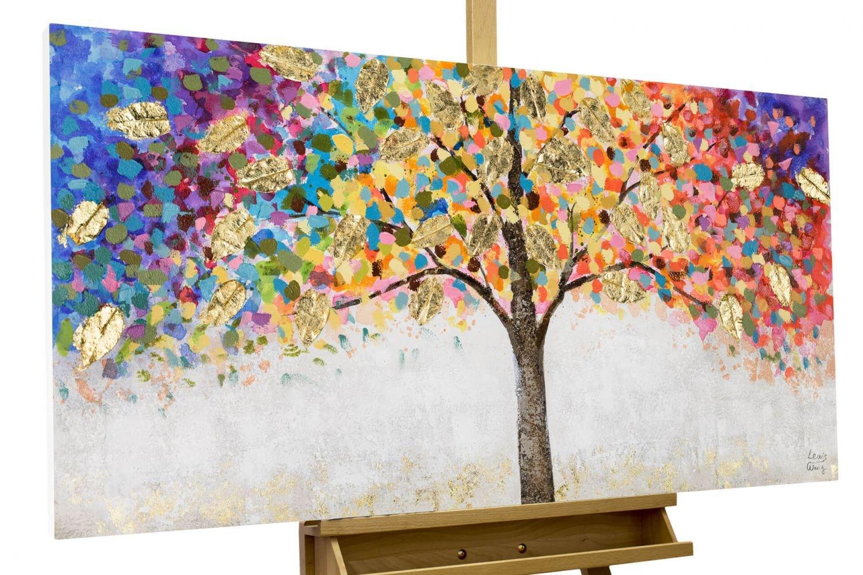 KunstLoft® Acryl Gemälde 'Locus Amoenus' 120x60   Baum original handgemalte Leinwand Bilder XXL   Baum  Natur Bunt Gold   Wandbild Acrylbild moderne Kunst einteilig mit Rahmen b552cb