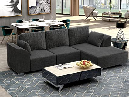 Merax. Living Room Sofa Big 2-Piece Sectional Sofa with Chaise, Fabric and Metal Legs