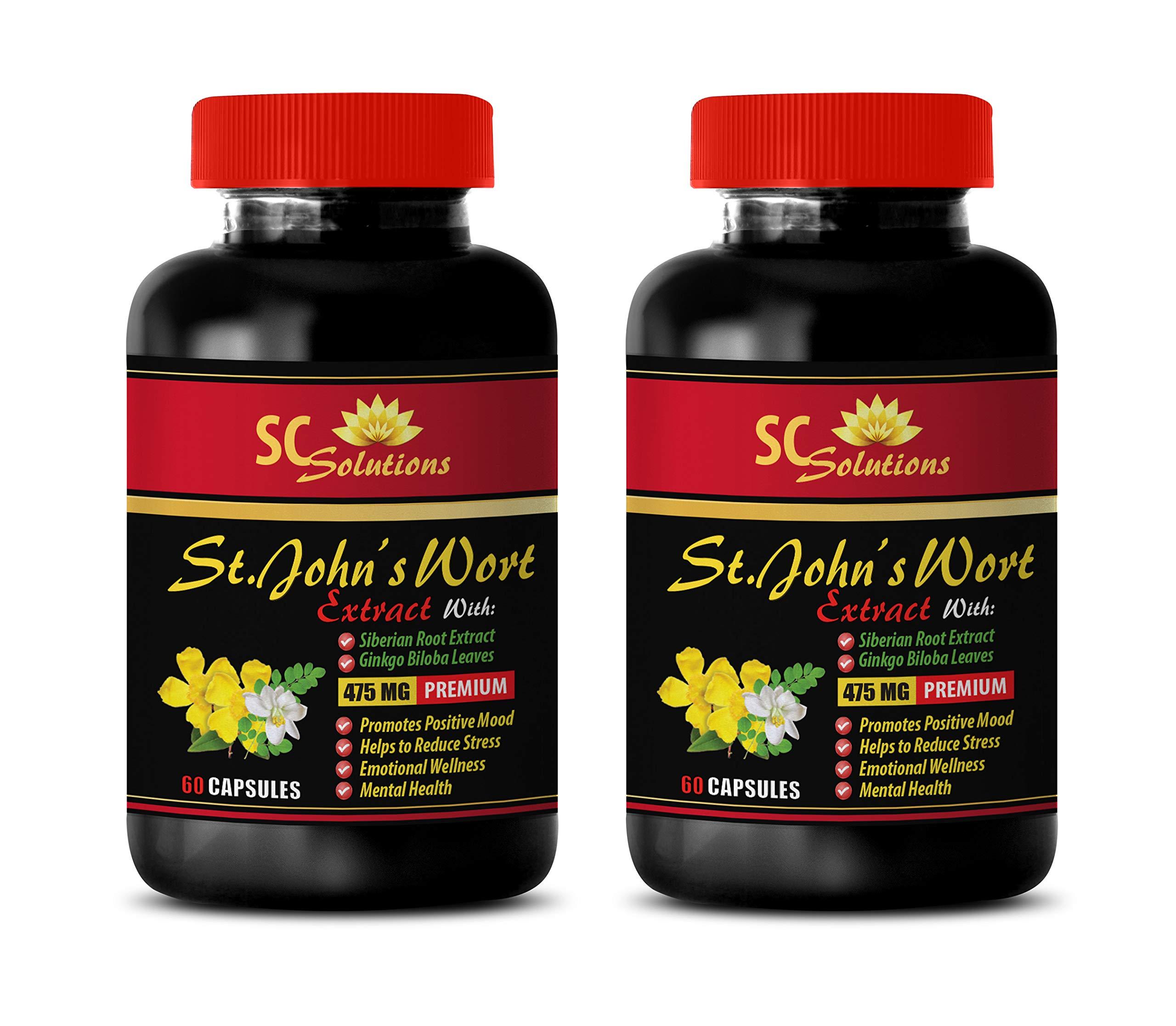 Depression Supplements Natural - ST. John's Wort Extract - St Johns Wort Bulk Supplements - 2 Bottles 120 Capsules