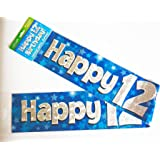 Happy 12th Birthday Banner Age Boy Blue Holographic Wall Kids Party Decorations