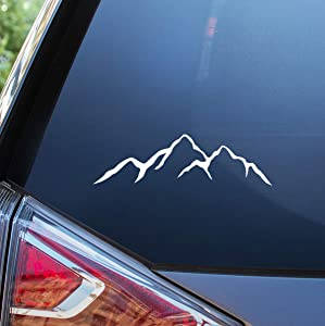 Blue Giraffe Mountain Car Decal - 7'' Adventure and Camping Bumper Sticker for Your Car