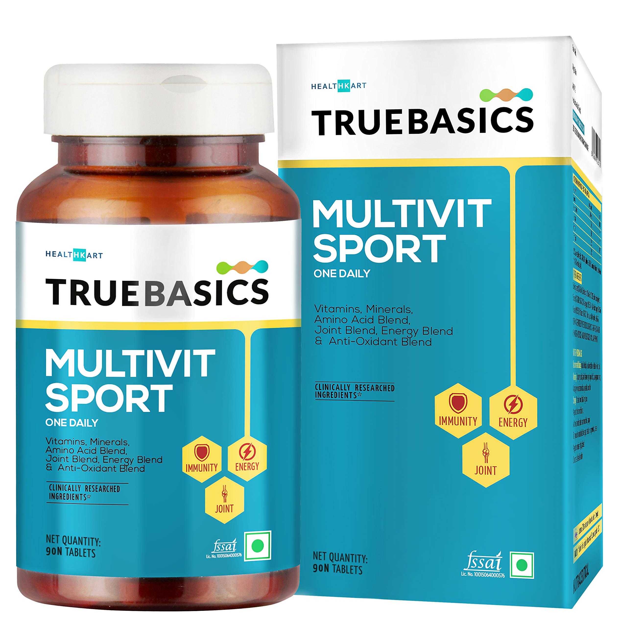 TrueBasics Multivit Sport One Daily, Multivitamin , Multiminerals, Anti-oxidants, Amino Acids with Joint & Energy Blends, 90 Veg Tablet(s)