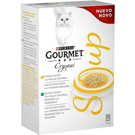 Purina Gourmet Crystal Soup comida para gatos con Pollo Natural y Verduras 10 x [4