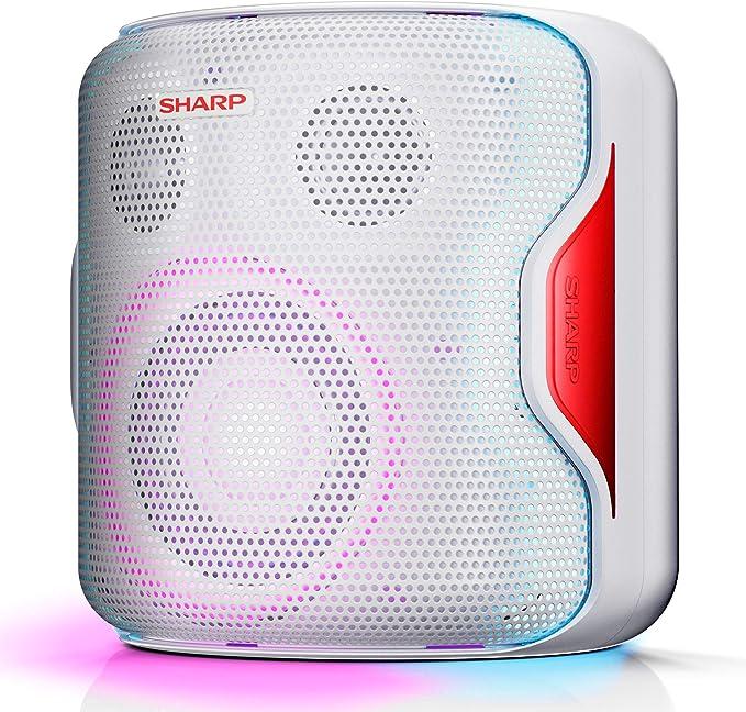 Sharp PS-919 (WH) Altavoz con TWS, Bluetooth 5.0, Puerto USB, Sonido 3D, Luces Multicolor, Impermeable IPX5, 130 W de Potencia y Batería Integrada, Blanco