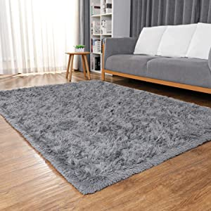 Ophanie Ultra Soft Fluffy Area Rugs for Living Room, Luxury Shag Rug Faux Fur Non-Slip Floor Carpet for Bedroom, Kids Room, Baby Room, Girls Room, and Nursery - Modern Home Decor, 4x5.3 Feet Grey