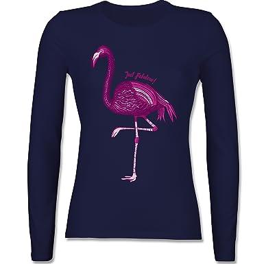 1569b4649e74c5 Vögel - Flamingo - Just Fabulous - tailliertes Longsleeve   langärmeliges T- Shirt für Damen  Shirtracer  Amazon.de  Bekleidung
