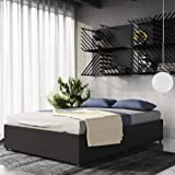 DHP Maven Platform Bed with Upholstered Faux Leather and Wooden Slat Support and Under Bed Storage, Queen Size - Black