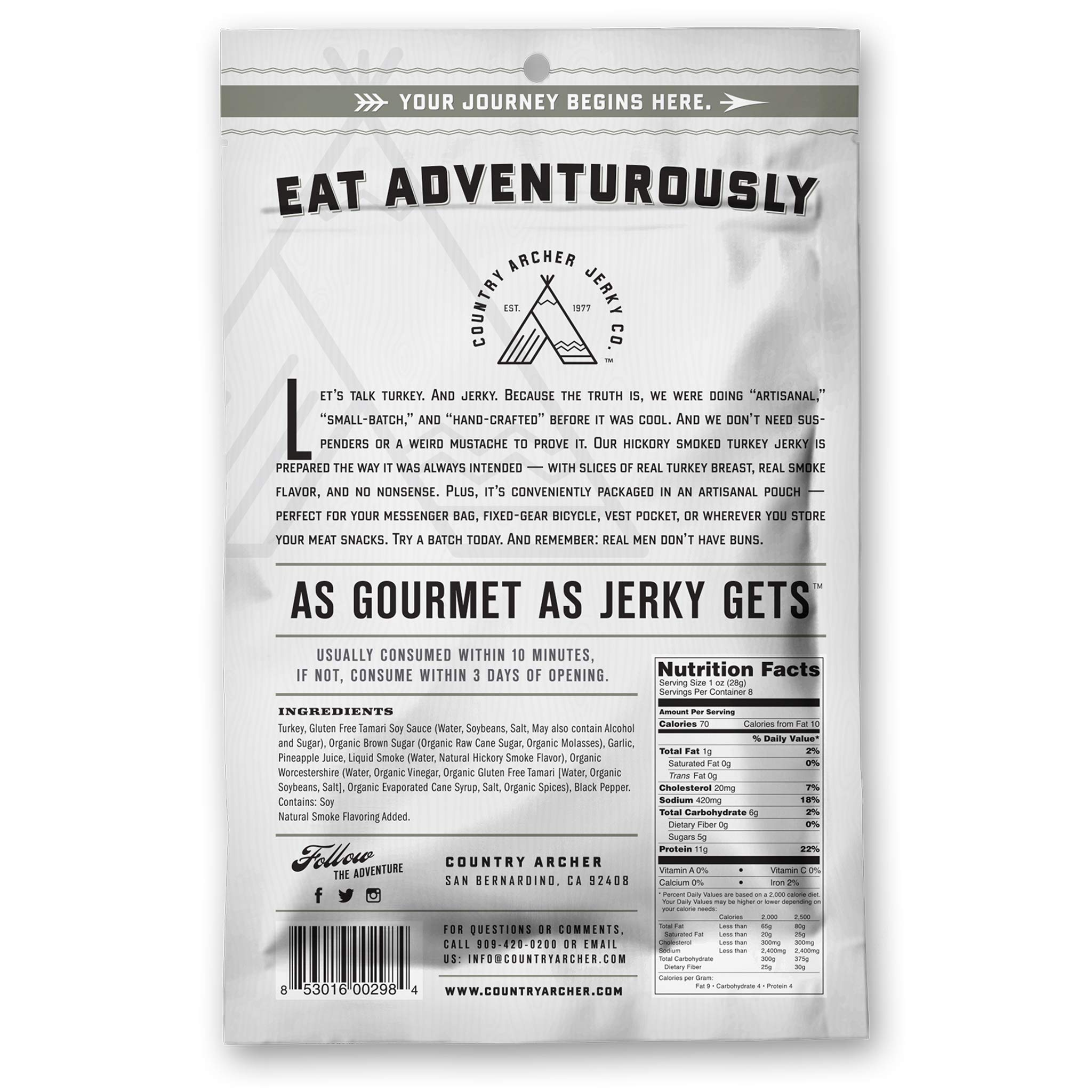 Hickory Smoke Turkey Jerky by Country Archer | Antibiotic Free | Gluten Free | 8 Ounce by Country Archer (Image #2)