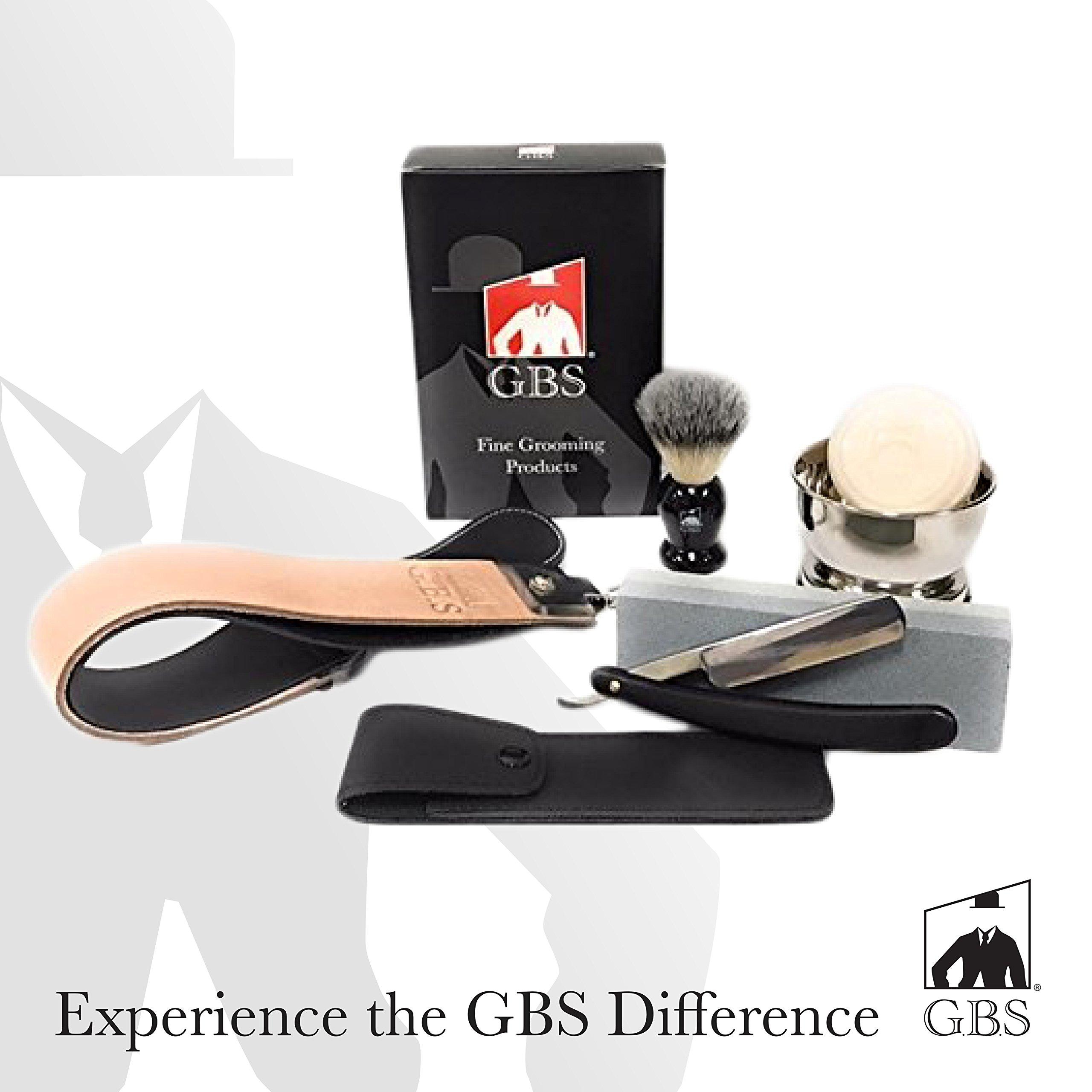 GBS Straight Razor Shaving and Beard Grooming set/Kit - Honing/Sharpening Stone, 2'' Leather Strop, Shaving Bowl & Soap, Badger Shaving Brush, Wood Straight Razor + Travel Case For Best Wet Shave