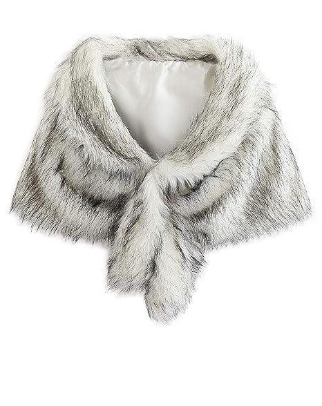 8ffafb6d6f Isoft Faux Fur Shawl Wrap Stole Shrug Winter Bridal Wedding Cover Up-M-FW:  Amazon.ca: Luggage & Bags