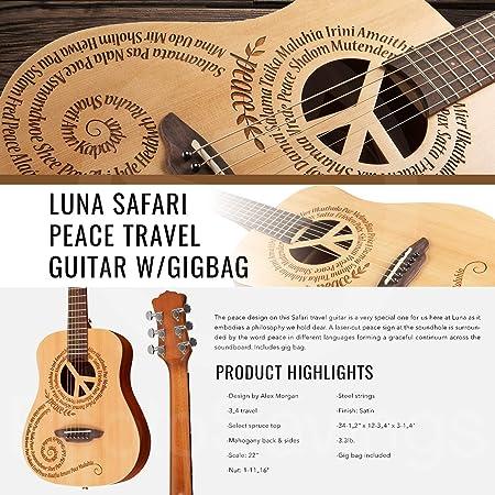 Luna Safari - Guitarra de viaje con bolsa y soporte para guitarra ...