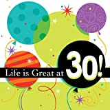 Life is Great 3-Ply 30th Birthday Lunch Napkins 16 Per Pack