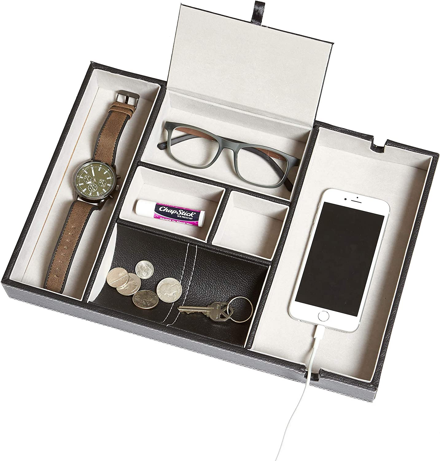 Bedside Tray Organizer - Nightstand Storage Phone/Wallet/Electronics/Charging/Keys/Books/Glasses - Desk/Table/Dresser Caddy - Control Bedside Organizers - Men/Women Smartphone/Jewelry Compartment