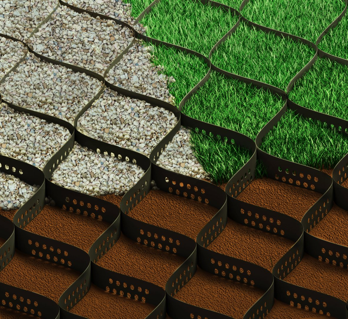 Standartpark 2'' Thick Geo Grid Ground Grid Polyethylene 160 sq ft 1885 LBS per sq ft strength