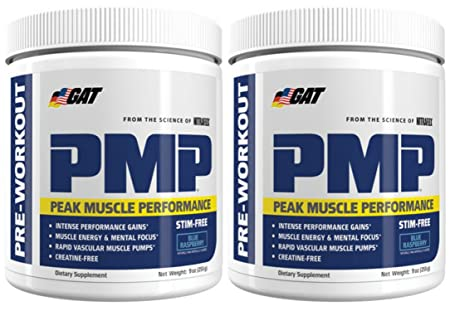 GAT PMP Peak Muscle Performance Pre-Workout 30 Sx2 Pack Stim Free Blue Raspberry