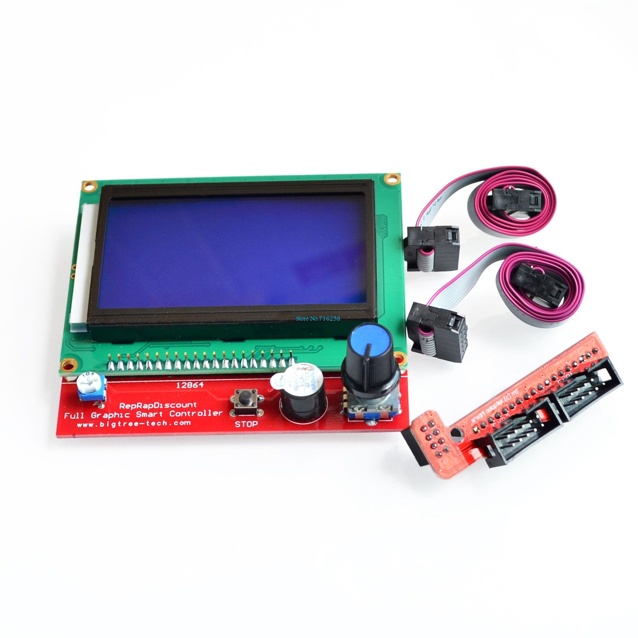Ants-Store - 2sets/lot 3D printer smart controller RAMPS 1.4 LCD 12864 LCD control panel blue screen