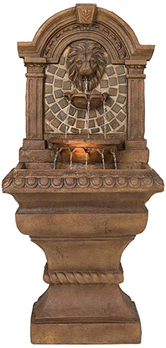 "John Timberland Royal Lions Head Floor Cascading Water Fountain with Light 51"" High Indoor Outdoor"