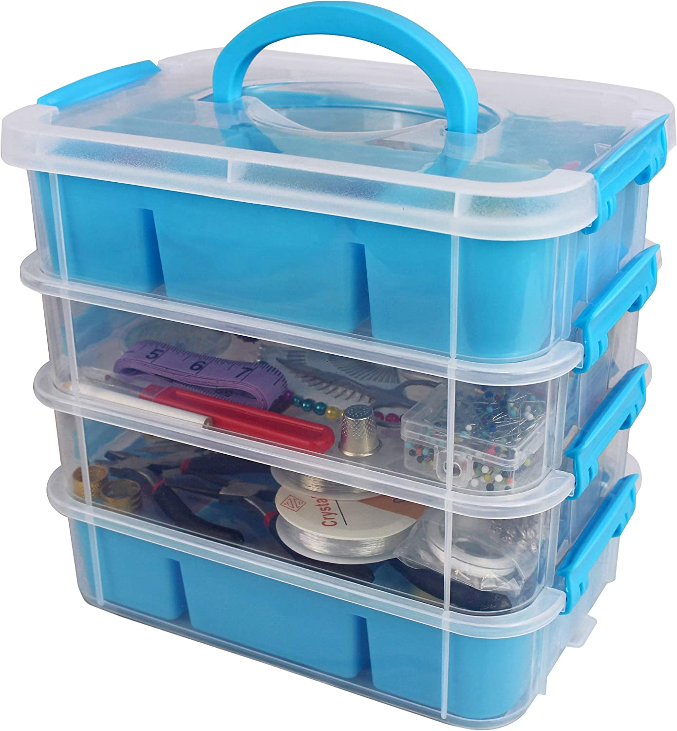Stackable Plastic Craft Storage Containers by Bins & Things | Plastic Storage Organizer Bin with 2 Trays | Bins for Arts Crafts Supplies | Jewelry Making Storage Box | Portable Sewing Box Organizer