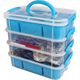 Stackable Plastic Craft Storage Containers by Bins & Things   Plastic Storage Organizer Bin with 2 Trays   Bins for Arts…