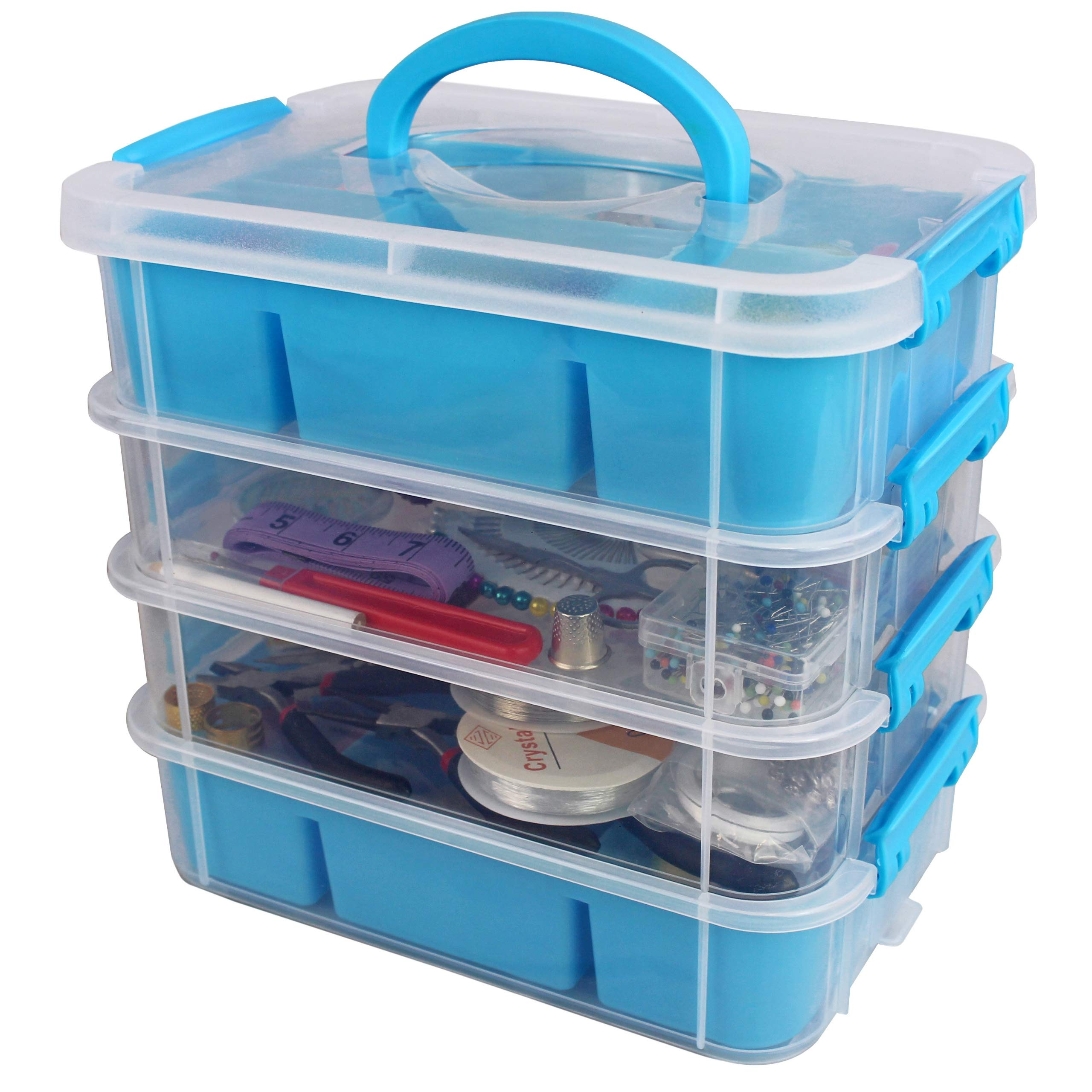 Stackable Plastic Craft Storage Containers by Bins & Things | Plastic Storage Organizer Bin with 2 Trays | Bins for Arts Crafts Supplies | Jewelry Making Storage Box | Portable Sewing Box Organizer by Bins & Things