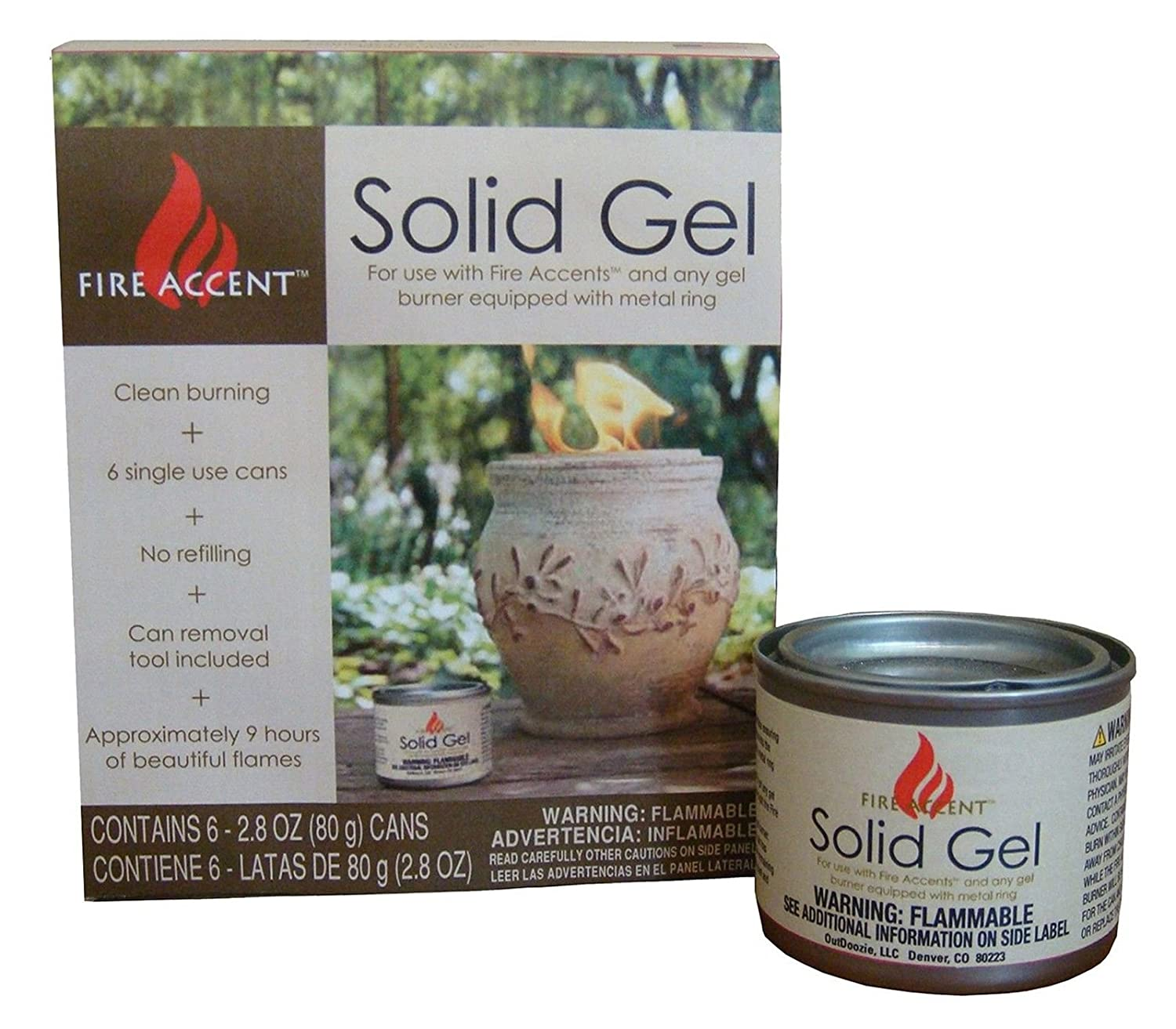 Amazon.com: Outdoozie Fire Accent Solid Gel Can (6 Pack) 2.8 oz .#GH45843 3468-T34562FD152512: Kitchen & Dining
