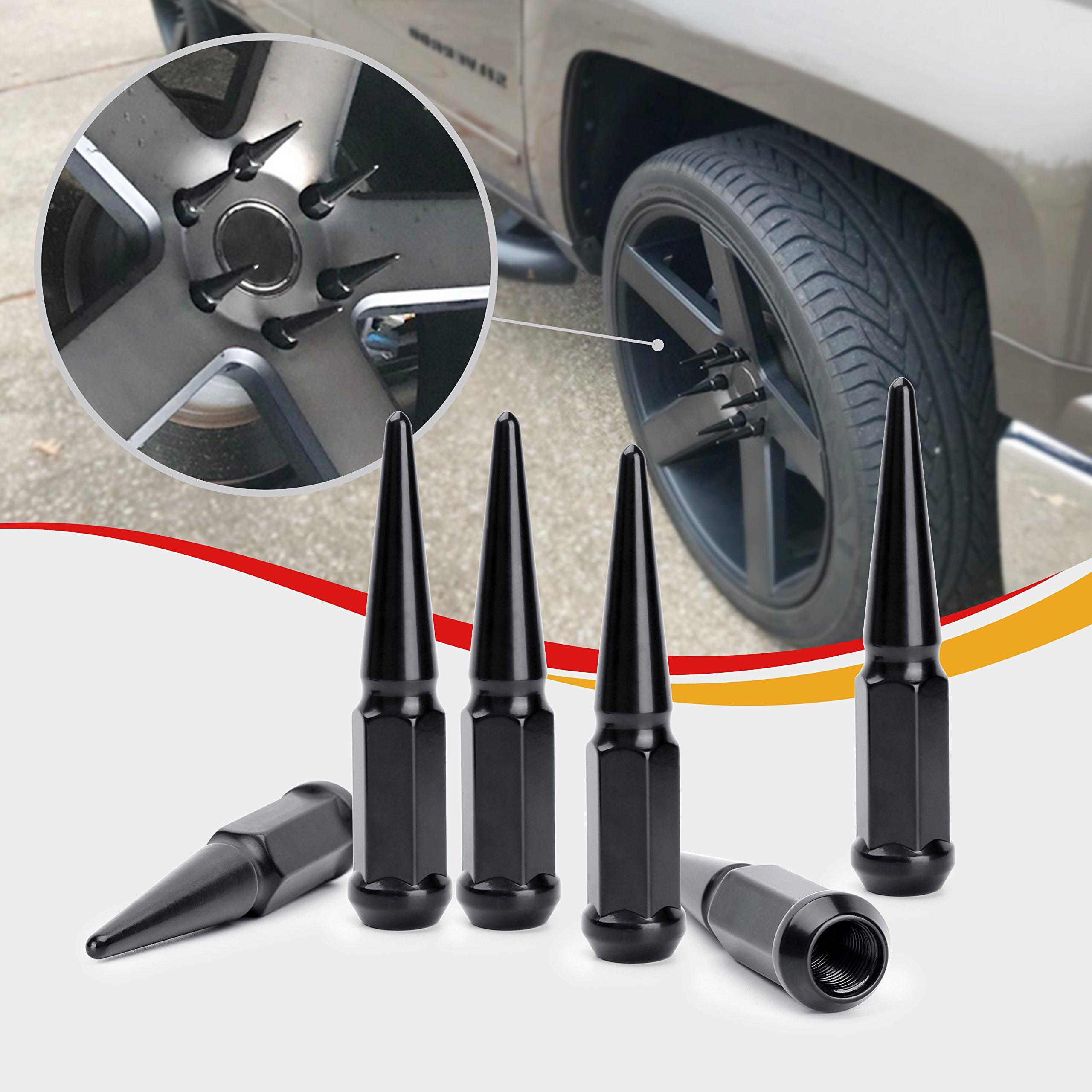 Dynofit 14mmx1.5 Wheel Spike Lug Nuts, 32 x Silver M14x1.5 Lug Nut, 4.4'' Tall Closed End Nuts with 1 Socket Key for Chevy Silverado GMC Sierra 1500 2500 3500, Ford F-250 F-350 2003-2016 by Dynofit (Image #4)