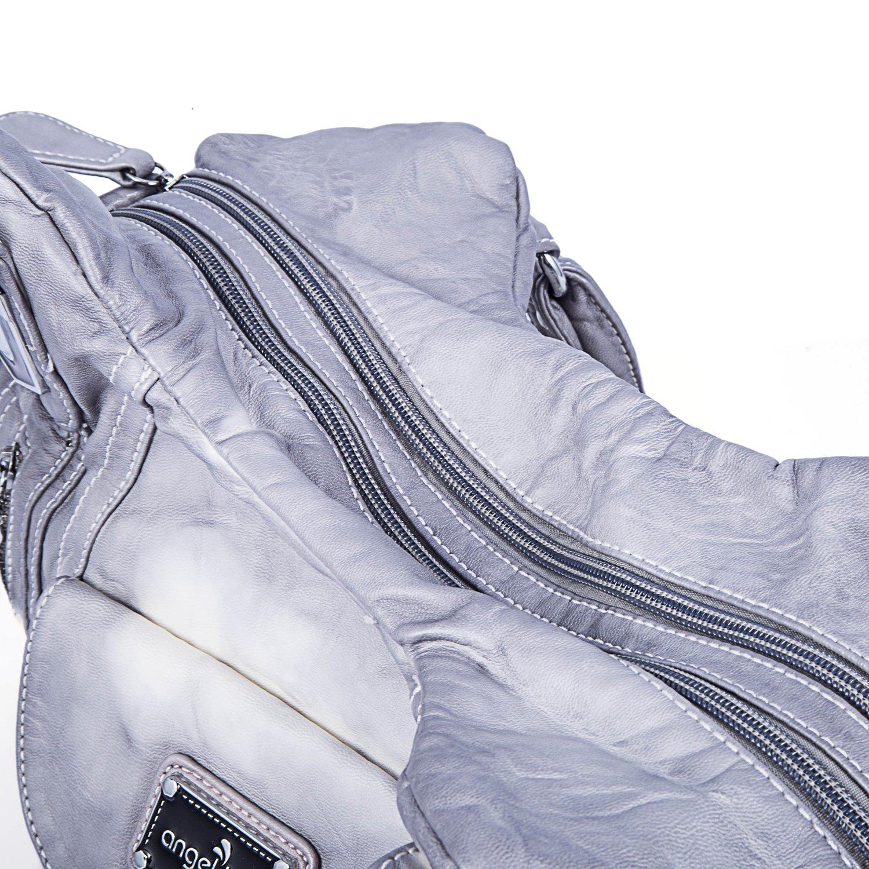 Handbag Hobo Women Handbag Roomy Multiple Pockets Street ladies' Shoulder Bag Fashion PU Tote Satchel Bag for Women (AK812-2Z Grey) by Angel Kiss (Image #5)