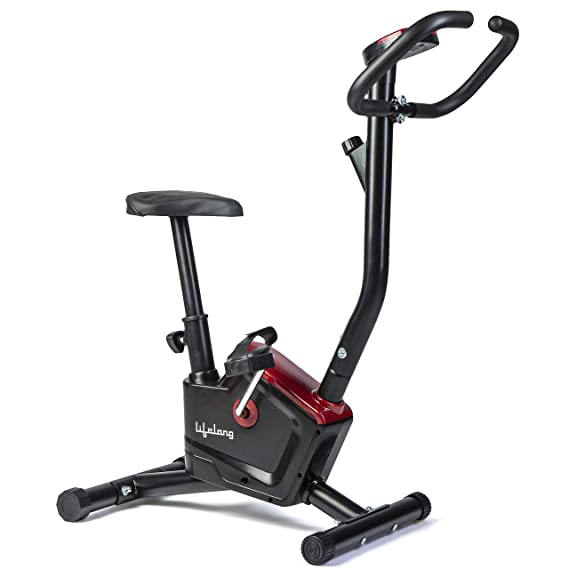 Lifelong LLF126 Fit Pro Stationary Exercise Belt Bike for Weight Loss at Home with Display and Resistance Control (Free Home Installation)