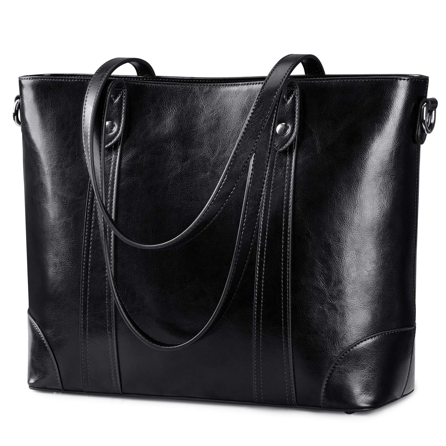 S-ZONE 15.6'' Leather Laptop Bag for Women Shoulder Bag Large Work Tote with Padded Compartment