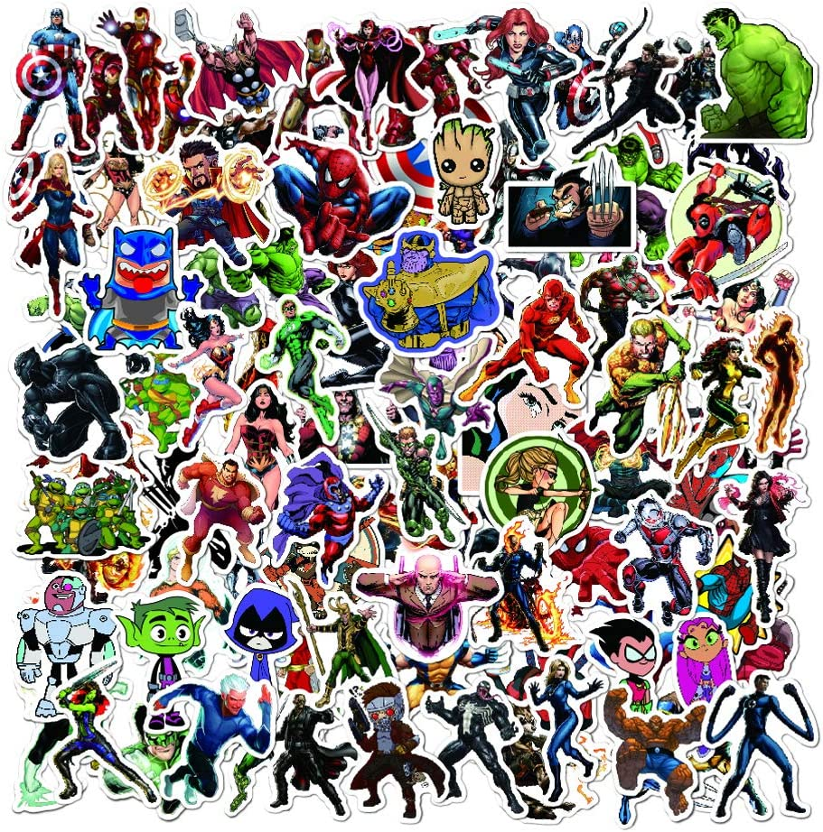 Superhero Gaming Stickers (100pcs) Quote Vinyl Decals Durable Pack for Laptop Water Bottle Car Bike Helmet Bbumper PS4,Xbos, Game Party Favor for Teens, Boys,Gamer Adults, Friends (Superhero 100)