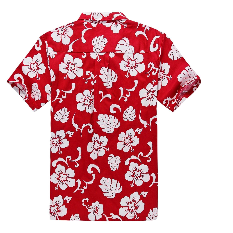 Matching Father Son Hawaiian Luau Outfit Men Shirt Boy Shirt Red Hibiscus