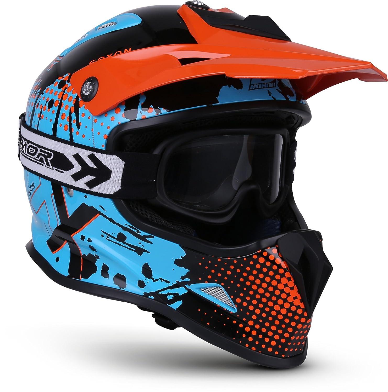 "Soxon® SKC-33 Set ""Fusion Green"" · Kinder-Cross-Helm · Motorrad-Helm MX Cross-Helm MTB BMX Sport · ECE Schnellverschluss SlimShell Tasche S (53-54cm) Soxon Germany SKC-33-SET"