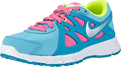 Nike Revolution 2 GS, Zapatillas de Running para Niñas, Azul/Plateado/Rosa/Verde (Clrwtr/Mtllc Slvr-Bl LGN-Vlt), 35 1/2 EU: Amazon.es: Zapatos y complementos