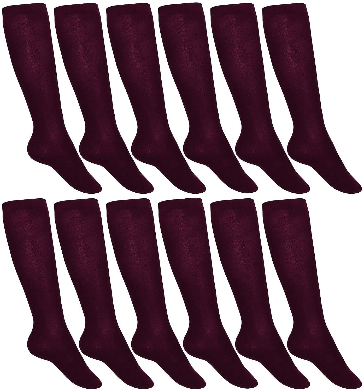 Women's Trouser Socks, 12 Pairs, Opaque Stretchy Nylon Crew Length Dress Socks (Burgundy)