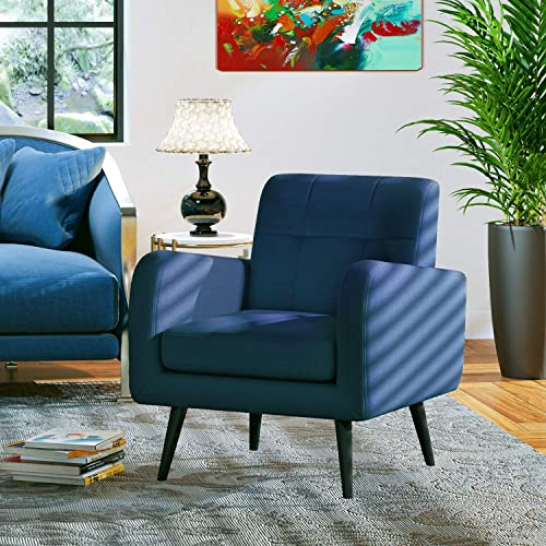 JustRoomy Modern Linen Fabric Armchair Accent Chair Bedroom Chair Living Room Chair Single Sofa Comfortable Upholstered Arm Chair