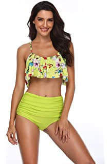 393c632d4018b Memory baby Women s Ruffle Swimsuits Off Shoulder Two Piece Bikini Set  Tankini Top with High Waisted